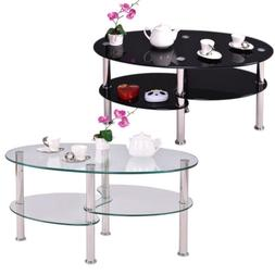 Tempered Clear/Black Glass Oval Side Coffee Table Shelf Chro