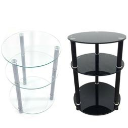 Tempered Glass 3-Tier Round Sofa Table Coffee Shelf  Base Li