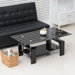 Tempered Glass Top Coffee Table Rectangular Wood Living Room