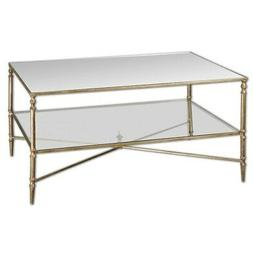 Uttermost 24276 Henzler Mirrored Glass Coffee Table, Gold Le