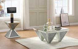 Acme Noralie Coffee Table With Mirrored And Faux Diamonds Fi
