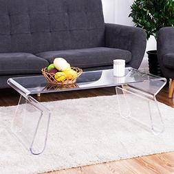 Tangkula Acrylic Coffee Table 38 inch Clear Modern Accent Gl