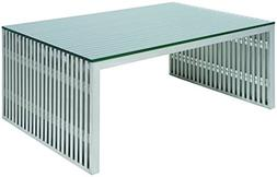 Nuevo Amici Square Metal Coffee Table in Silver