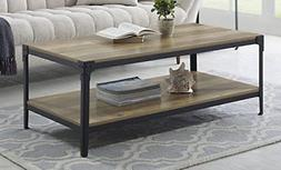 WE Furniture Angle Iron Wood Coffee Table in Rustic Oak - 46