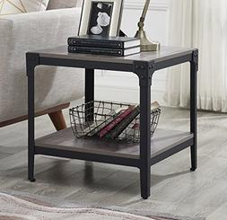 WE Furniture Angle Iron Wood End Tables in Grey Wash - Set o