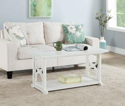 Ansley Coffee Table - White Color Hand Glaze Finish Wood Ven