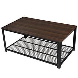 SONGMICS Coffee Table, Cocktail Table with Storage Shelf for