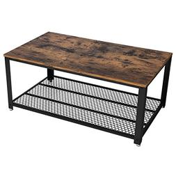 VASAGLE Vintage Coffee Table with Storage Shelf for Living R