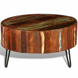 vidaXL Coffee Table Solid Reclaimed Wood Round End Side Livi