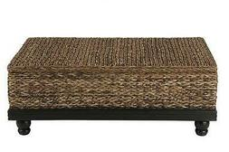 East At Main Arbor Brown Abaca Textured Coffee Table,