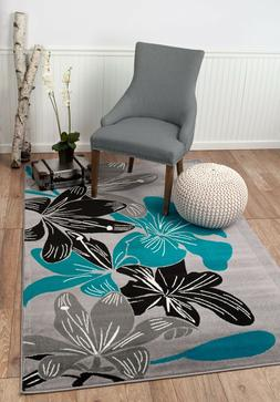 Area Rug ST36 Blue Black Grey Contemporary Floral. Size: 5x7