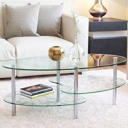Ryan Rove Ashley 38 Inch Oval Two Tier Glass Coffee Table