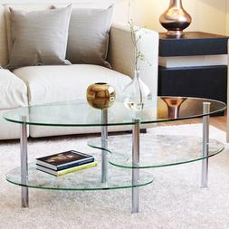 "Ryan Rove Ashley 38"" Oval Two Tier Clear Glass Coffee Table"