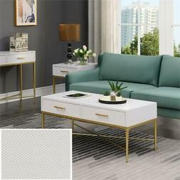 Convenience Concepts Ashley Coffee Table in White Scallop/Go