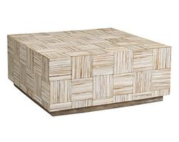 East at Main Ashton Off-White Teak Square Coffee Table,