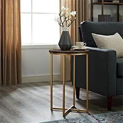 WE Furniture AZF16ALSTDWG Wood Side Table, Dark Walnut/Gold