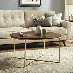 WE Furniture AZF36ALCTDWG Wood Coffee Table, Dark Walnut/Gol