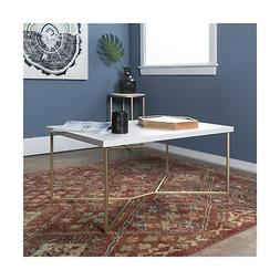 WE Furniture AZF42LUXWMG Coffee Table, Faux White Marble/Gol