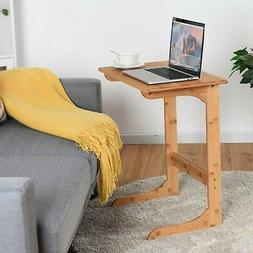 Tangkula Bamboo Sofa Side Table, TV Tray Couch Coffee Snack