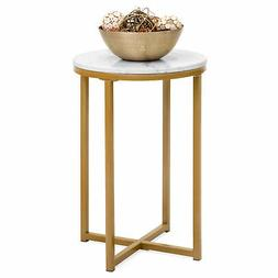 BCP 35in Round Accent Coffee Table Home Decoration w/ Faux M