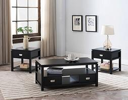 Kings Brand Furniture 3 Piece Black Finish Wood Storage Occa