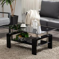black highlight glass coffee table end side