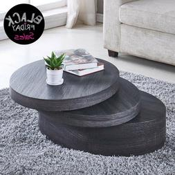 Black Oak Round Coffee Table Rotating Contemporary Modern Li
