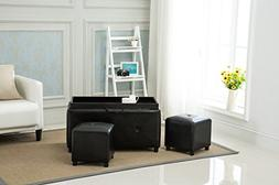 Yongchuang Black Ottoman Bedroom Entryway Bench with Tufted