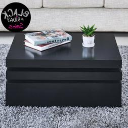 Black Square Coffee Table Rotating Contemporary Modern Livin