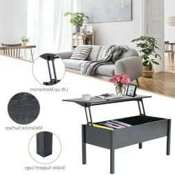 Black Wood Coffee Table End Table With Lift Top Storage Shel