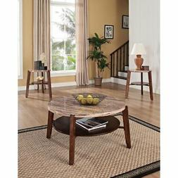 Benzara BM154535 Nadav Coffee and End Table Set , Faux Marbl