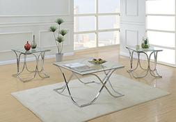 Benzara BM167173 Glass Top Coffee End Table Set, Clear and S