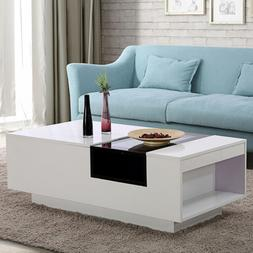BN Two-tone White and Black Glass Coffee Table Top Center wi