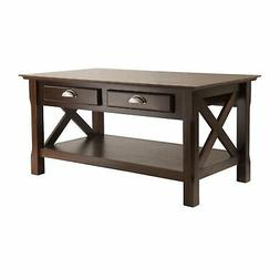 Brand New Winsome Wood Xola Coffee Table, Cappuccino Finish