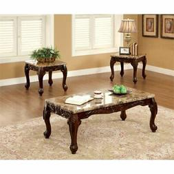 Furniture of America Burseel 3 Piece Coffee Table Set in Dar