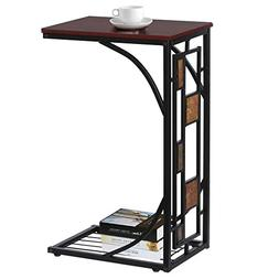 Topeakmart C-Shaped Side Sofa Snack Table Coffee Tray End Ta