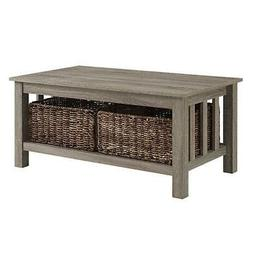 WE Furniture C40MSTAG 40In Wood Storage Coffee Table With To