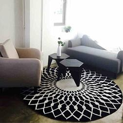 Edge To Carpet Rug Scandinavian Fashion Black And White Circ