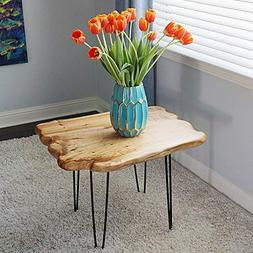 WELLAND Natural Edge Coffee Table Small, Hairpin Coffee Tabl