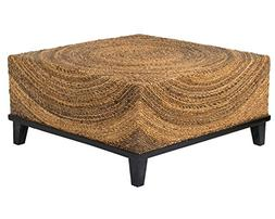 East At Main Chickasaw Brown Abaca Square Coffee Table,