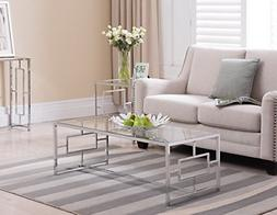 Chrome Finish / Glass Top Metal Frame Cocktail Coffee Table