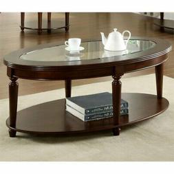 Furniture of America Claire Oval Glass Top Coffee Table, Dar