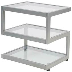 Clear/Silver Coffee Table Rectangular clear tempered glass t