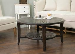 East At Main Sherwood Smooth Antique Round Coffee Table,