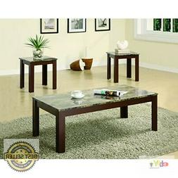 Coaster Furniture 3 Piece Coffee Table Set with Faux Marble