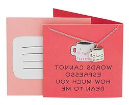 Quan Jewelry Coffee Cup Necklace, Words Cannot Espresso How