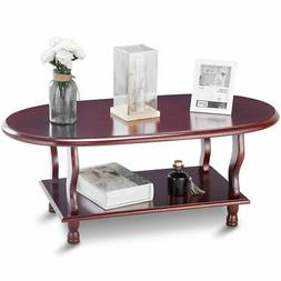 Coffee Oval Table Classic 2 Tier Design Lower Shelf End Acce