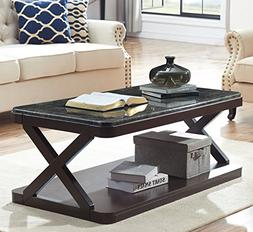 O&K Furniture Coffee Table with Faux Marble Top, Modern Cock
