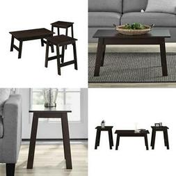 Coffee Table & 2 End Side Tables Set Modern Living Room Fami