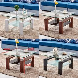 Coffee Table Clear Tempered Glass Top with Shelf White Brown